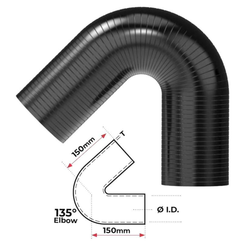 """Redback Silicone Hose (2-1/4"""") 135° Bend"""