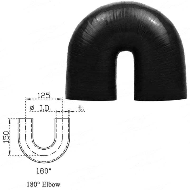 """ID 2-1/4""""(57mm), Black, 180 bend"""