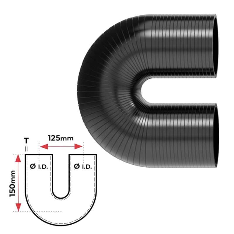 """Redback Silicone Hose (3"""") 180° Bend"""
