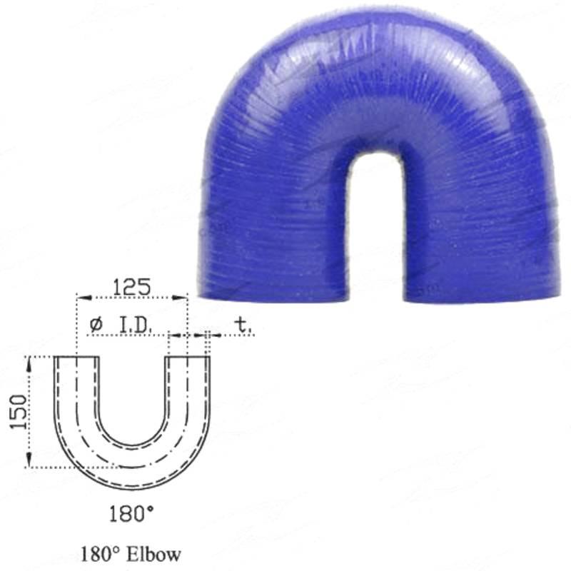 "ID 4""(101mm), Blue, 180 bend"