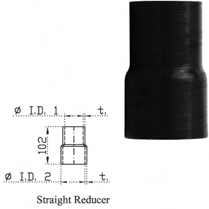 """Redback Silicone Hose (2"""" in, 2-1/8"""" out) Straight Reducer"""
