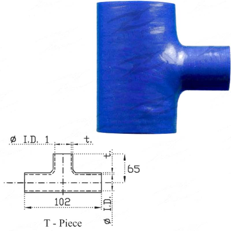 "ID 1-1/2""(38mm), Blue, T-piece"