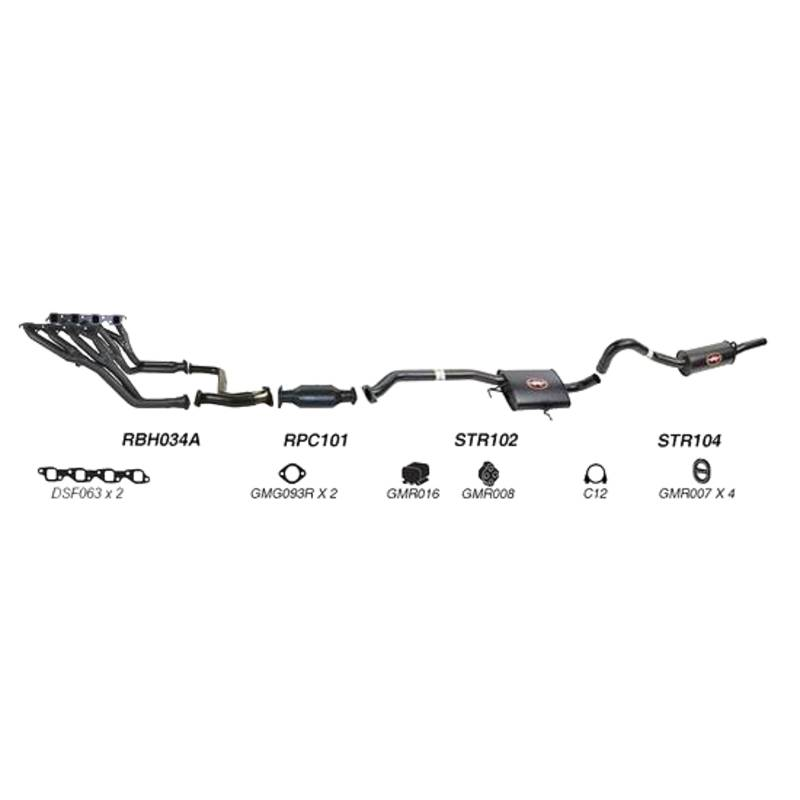 REDBACK EXHAUST - SPORTS SYSTEM TO SUIT HOLDEN CALAIS VN, VP, VR (1989 - 1995), HOLDEN COMMODORE VN, VP, VR (1988 - 1995)