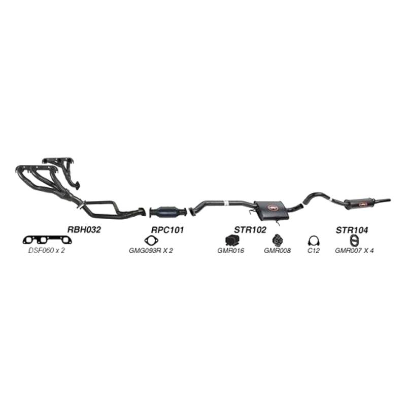 REDBACK EXHAUST - SPORTS SYSTEM TO SUIT HOLDEN CALAIS VN, VP, VR (1988 - 1995), HOLDEN COMMODORE VN, VP, VR (1988 - 1995)