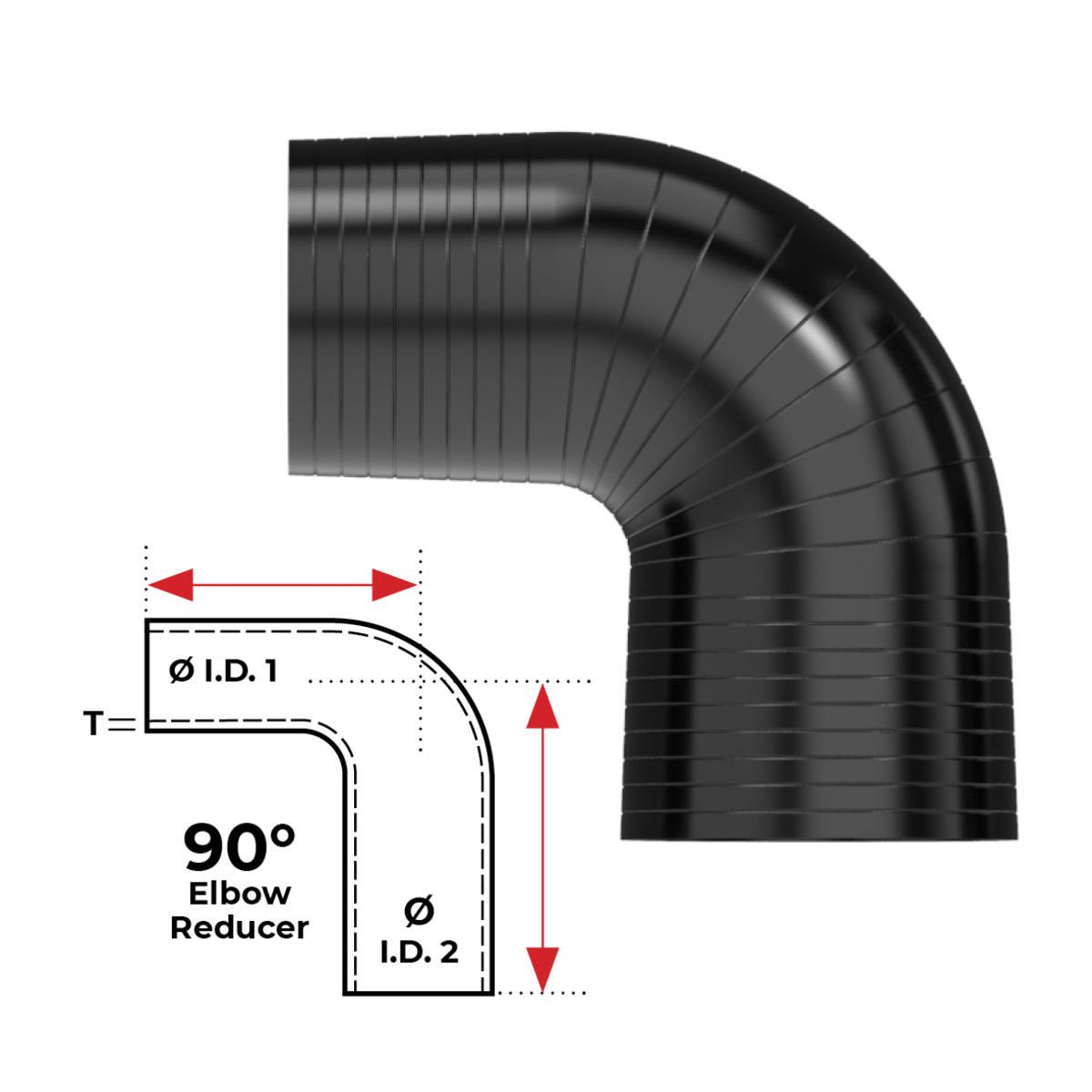 """Redback Silicone Hose (2-3/4"""" in, 3"""" out) 90° Bend Reducer (Black)"""