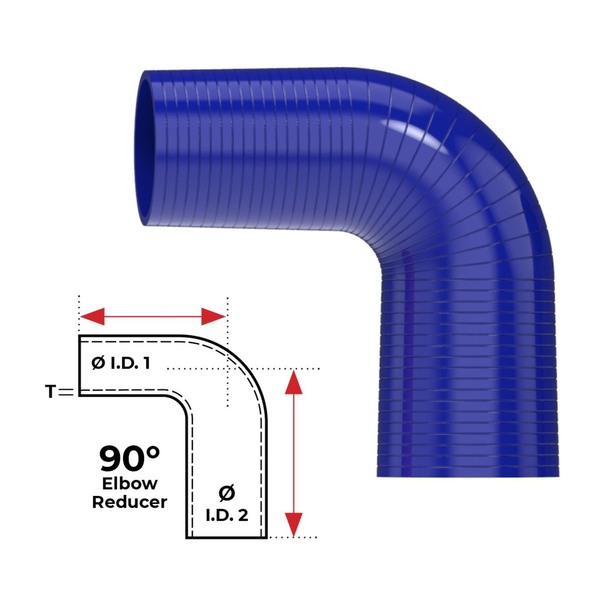 """Redback Silicone Hose (3"""" in, 3-1/2"""" out) 90° Bend Reducer"""