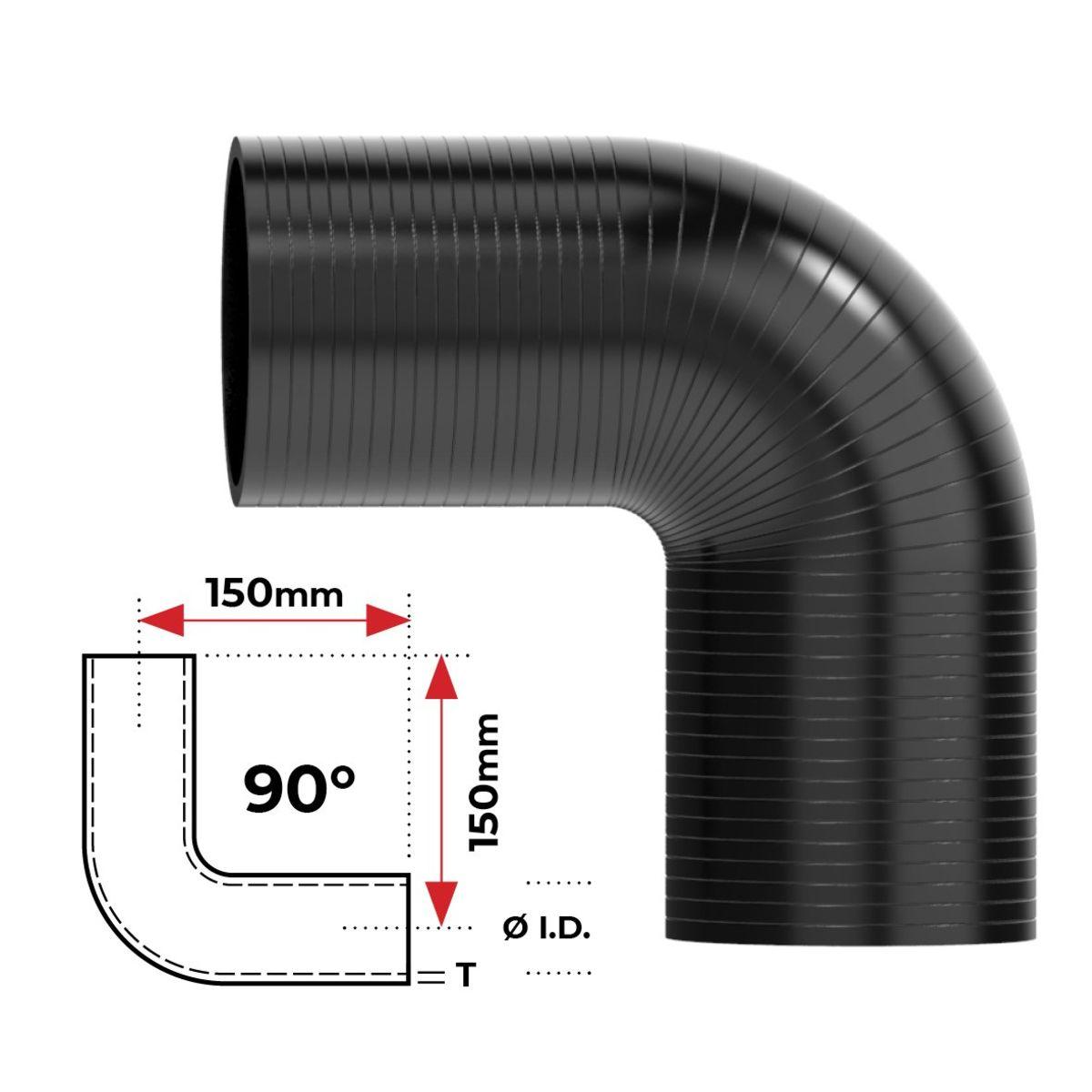 """Redback Silicone Hose (4"""") 90° Bend"""
