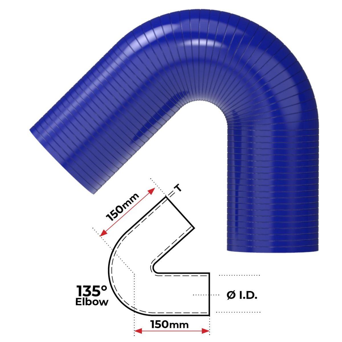 """Redback Silicone Hose (2-1/2"""") 180° Bend"""