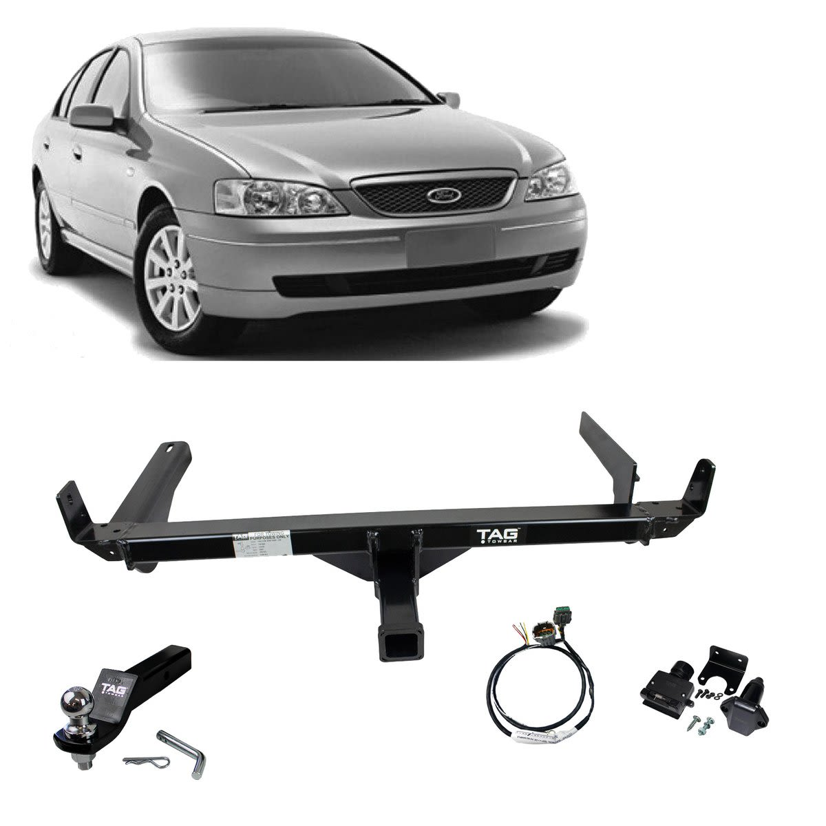 TAG Heavy Duty Towbar to suit Ford Fairmont (01/2002 - 01/2008), Falcon (01/2002 - 10/2016) - No Wiring Harness