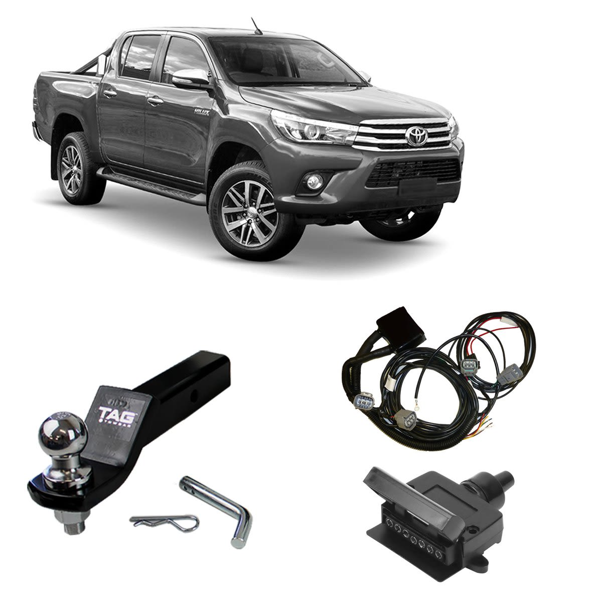 TAG Towbar Lugs Direct Fit to suit Toyota Hilux (04/2018 - on) - Direct Fit ECU