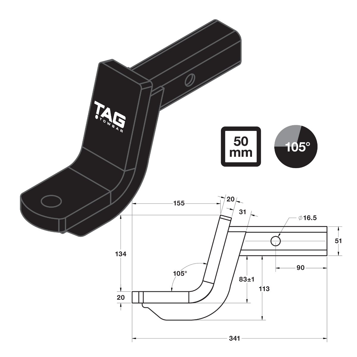 TAG Tow Ball Mount - 219mm Long, 105° Face, 50mm Square Hitch