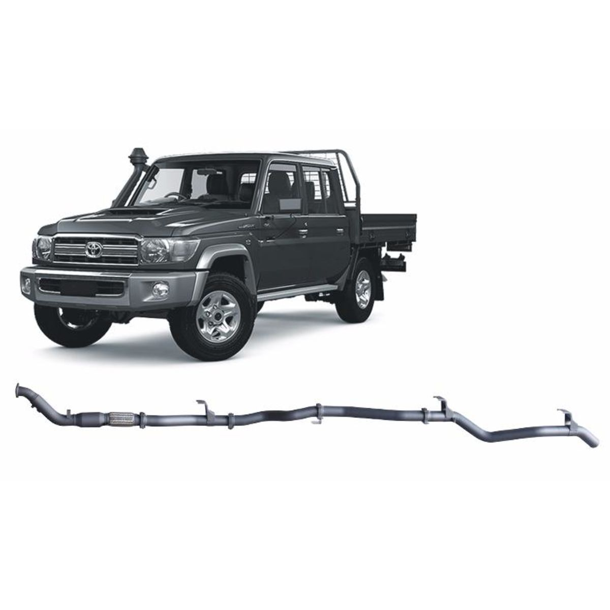 Redback Extreme Duty Exhaust to suit Toyota Landcruiser 79 Series Double Cab (01/2012 - 10/2016)