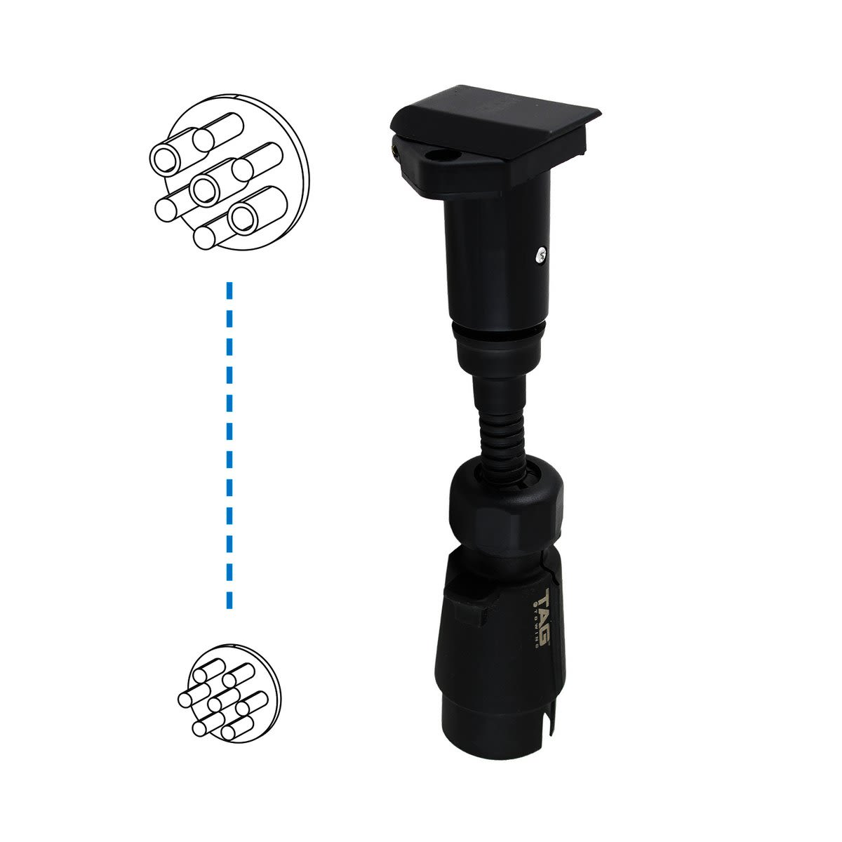 TAG Pulse Trailer Adapter - 7 Pin Large Round Plug to 7 Pin Small Round Socket
