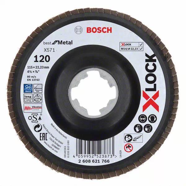 Bosch Best for Metal Lamellslipskiva med X-LOCK X571 vinklad 115 mm G 120