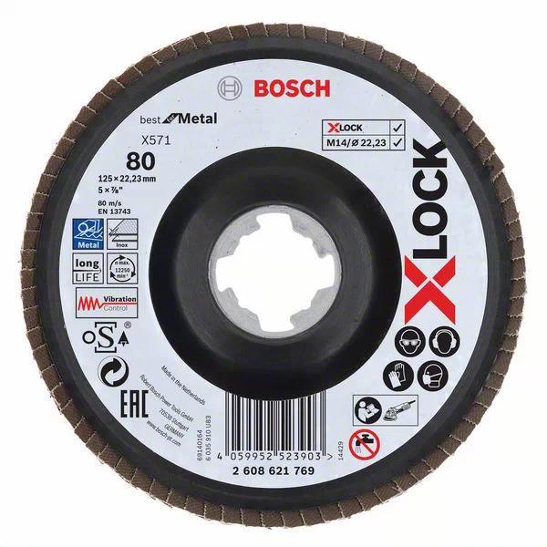Bosch Best for Metal Lamellslipskiva med X-LOCK X571 vinklad 125 mm G 80