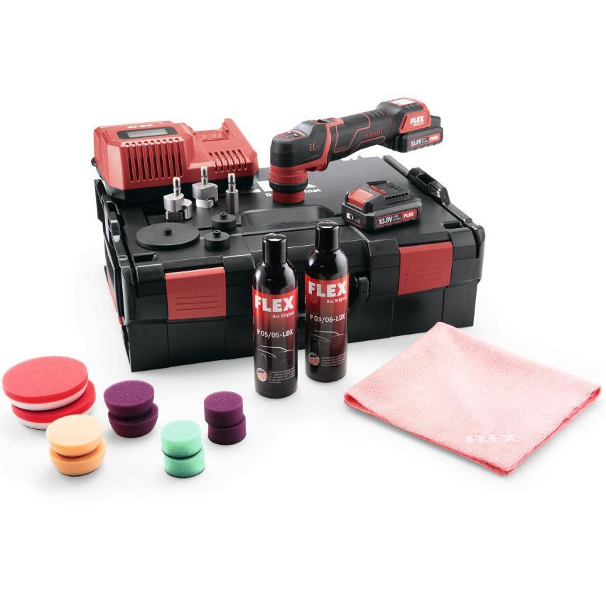 Flex PXE80 10.8-EC P-Set Polermaskin med batterier laddare och tillbehör
