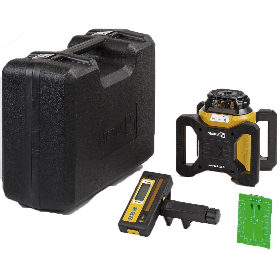 Stabila LAR 160 G Rotationslaserpaket 4 delar med grön laser mottagare väska & tillbehör