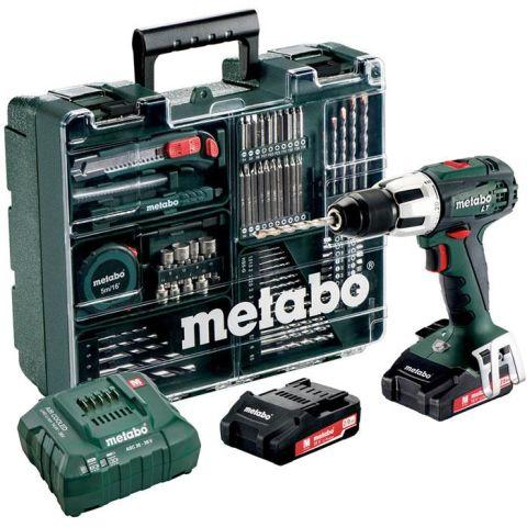 1110452 Metabo SB 18 LT Set Slagborrmaskin med tillbehörssats, 2,0Ah batterier och laddare