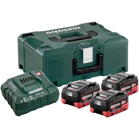 1110931 Metabo Bas-set Laddpaket 3st 5,5Ah batterier, laddare och väska