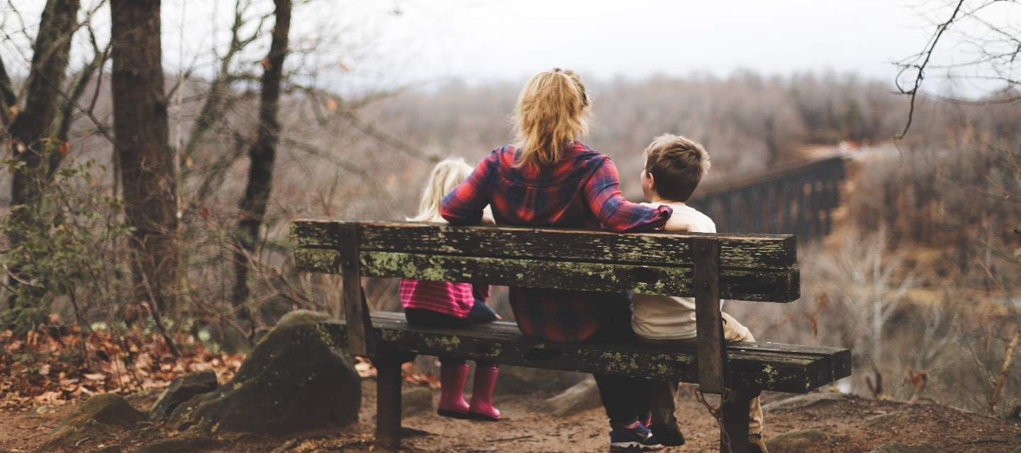 Mother sitting on a bench with two children