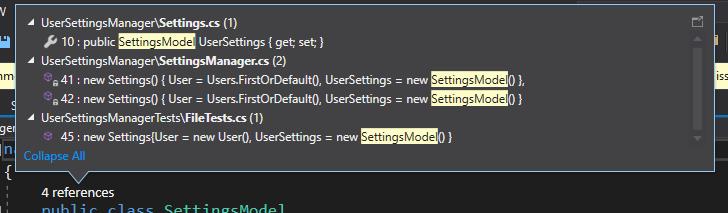 Number of references a model named Settings Model has