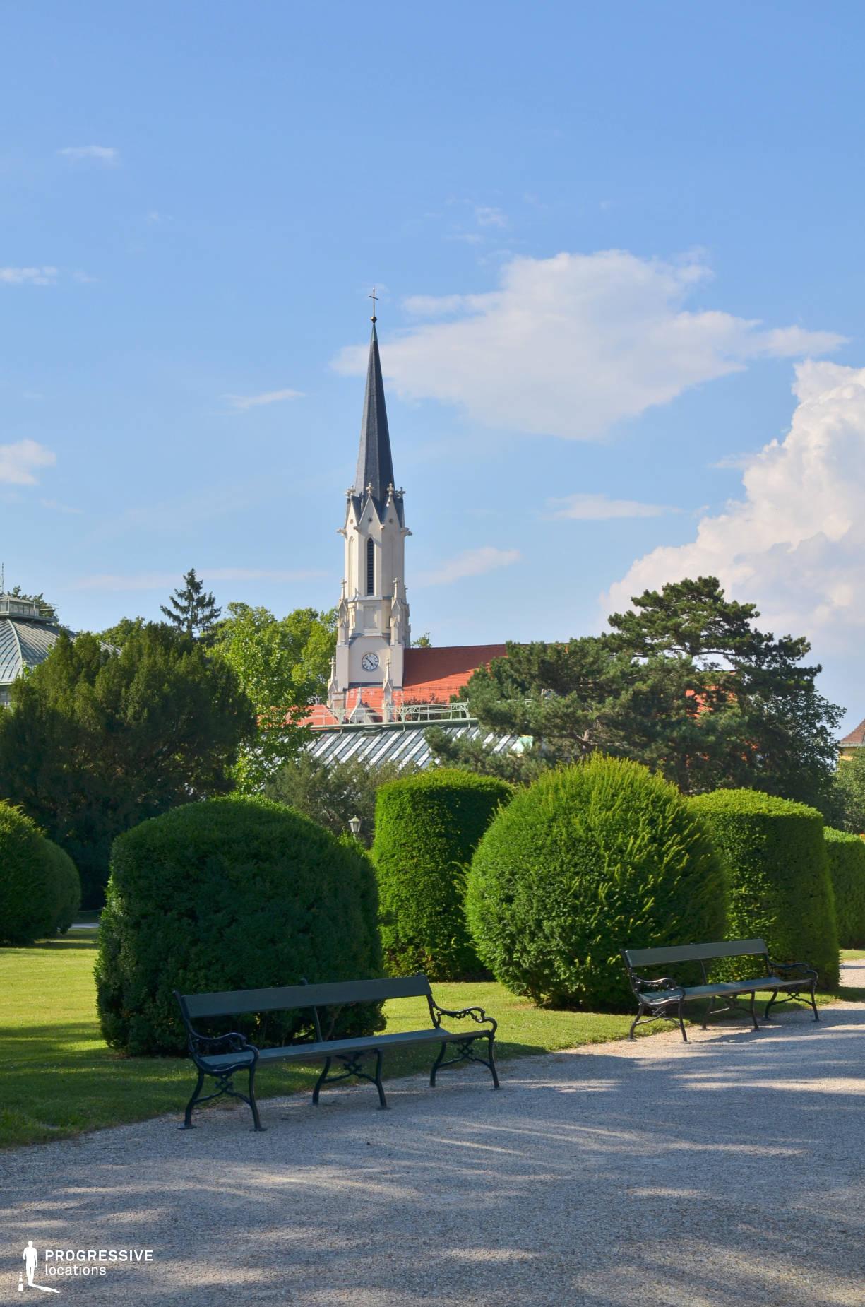 Locations in Austria: Garden %26 Curch, Schoenbrunn Palace