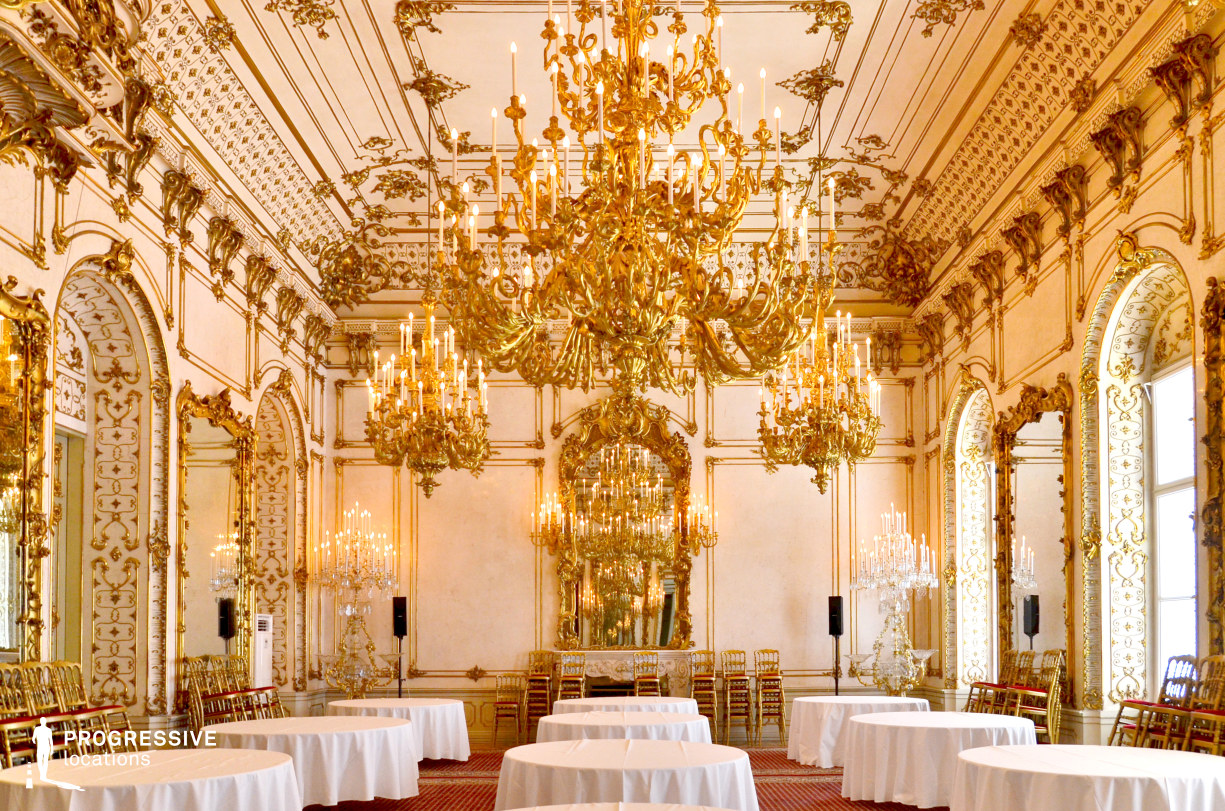 Locations in Austria: Great Ballroom %26 Chandellier, Pallavicini Palace
