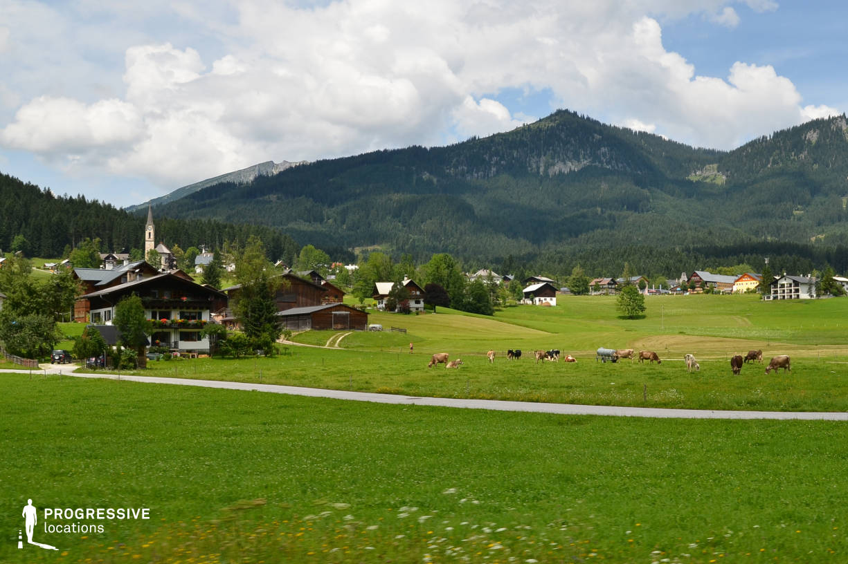 Locations in Austria: Village Landscape %26 Cows, Gosau