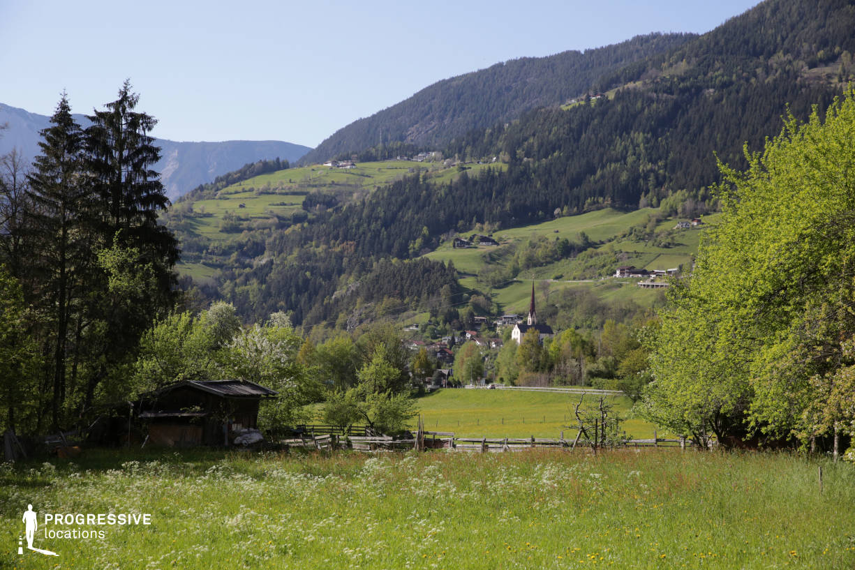 Locations in Austria: Meadow with Church, Oetztal Valley