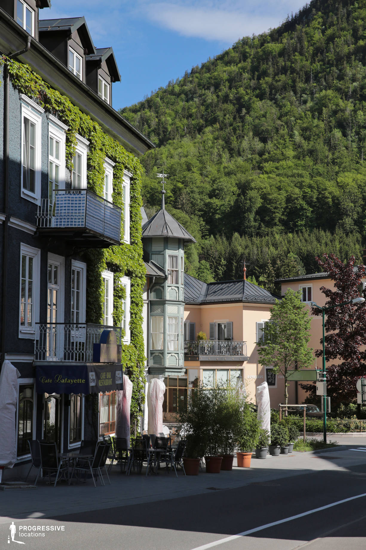 Locations in Austria: Street with Cafe, Bad Ischl