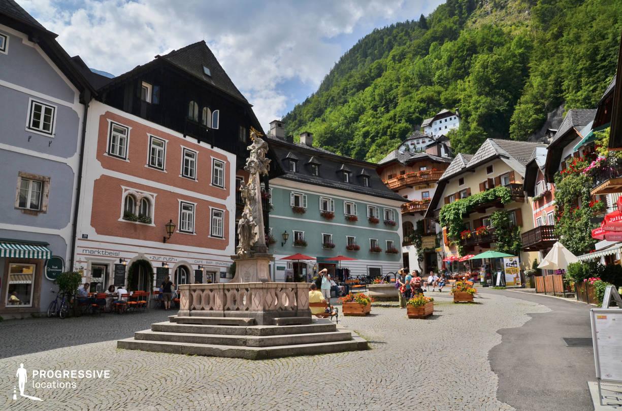Locations in Austria: Cobblestone Square, Hallstatt