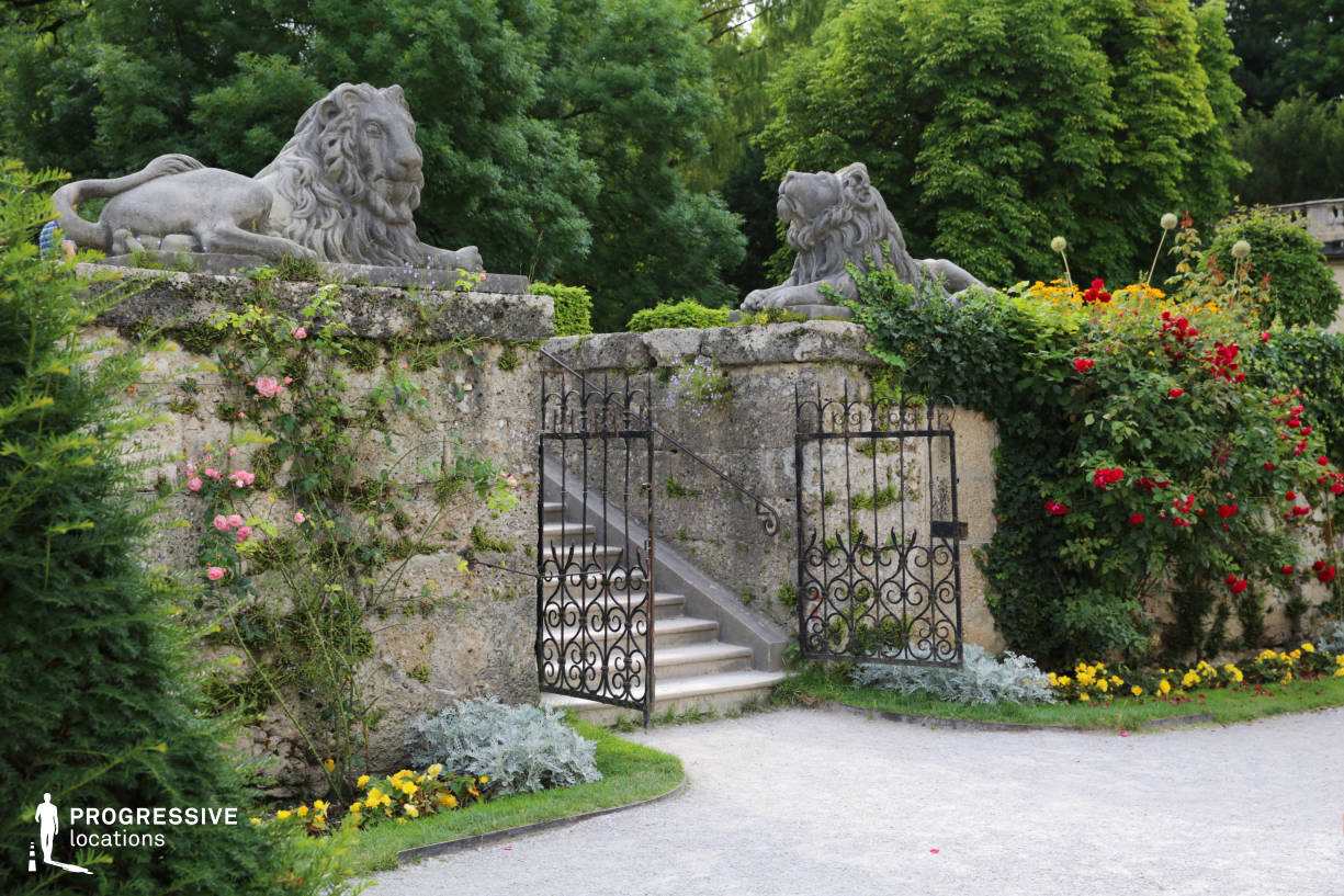 Locations in Salzburg: Stairs %26 Lion Statues, Mirabell Palace Garden