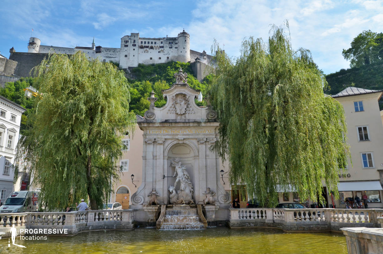 Locations in Salzburg: Fountain %26 Fortress, Kapitelplatz Square