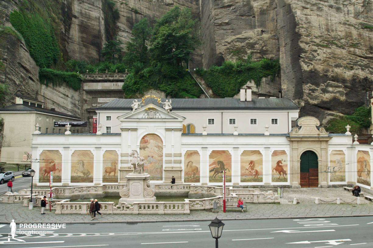 Locations in Salzburg: Fountain %26 Rock, Karajanplatz