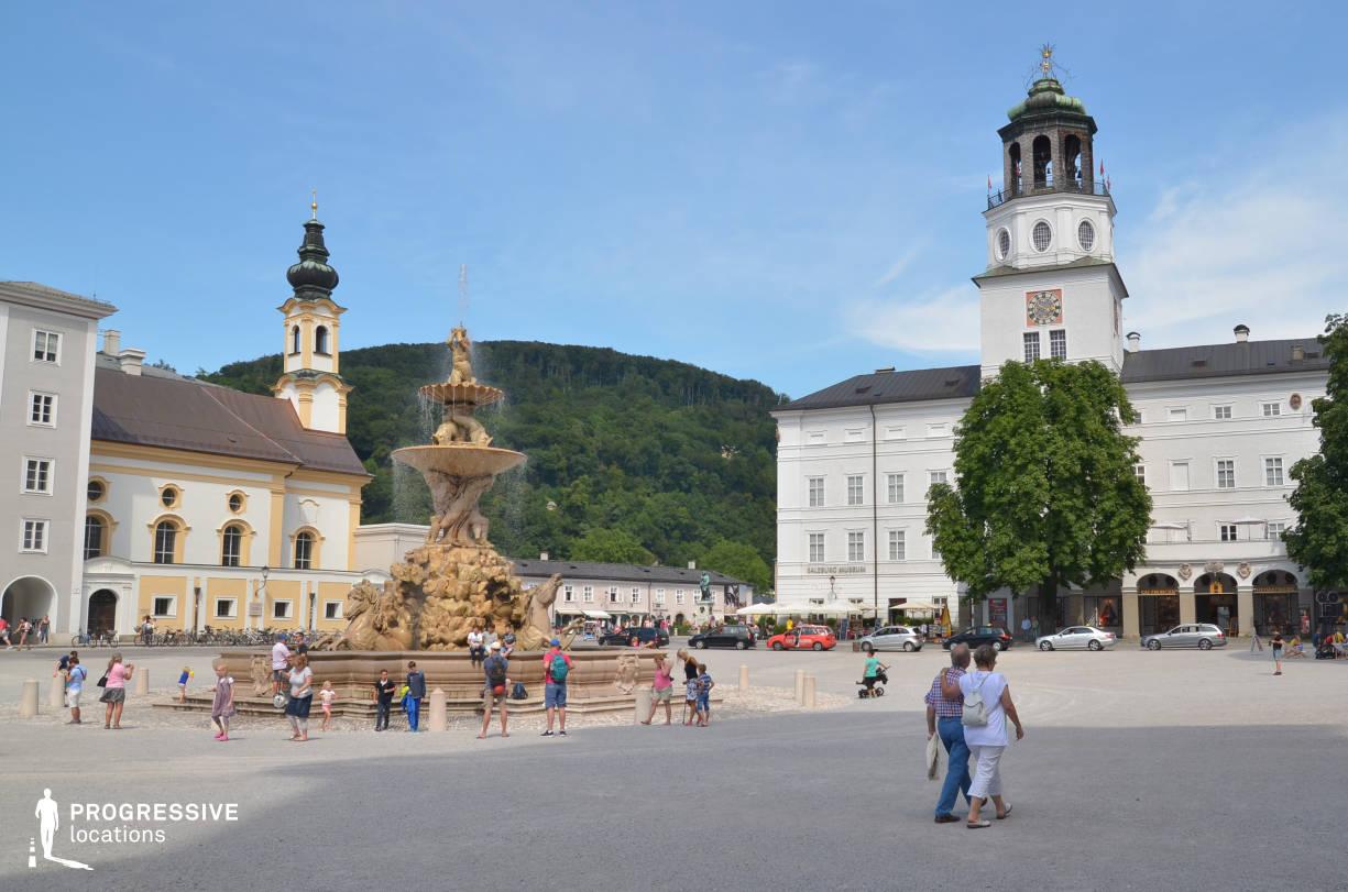 Locations in Salzburg: Fountain, Residenzplatz