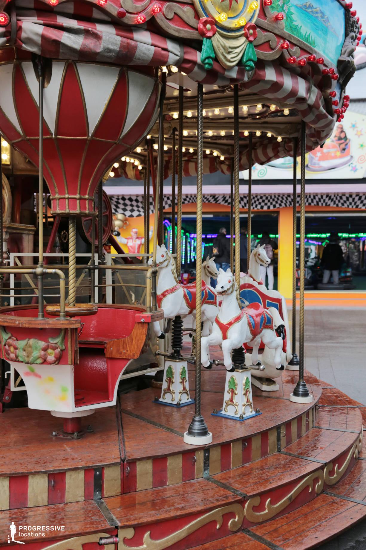 Locations in Austria: Vintage Wooden Carousel, Amusement Park