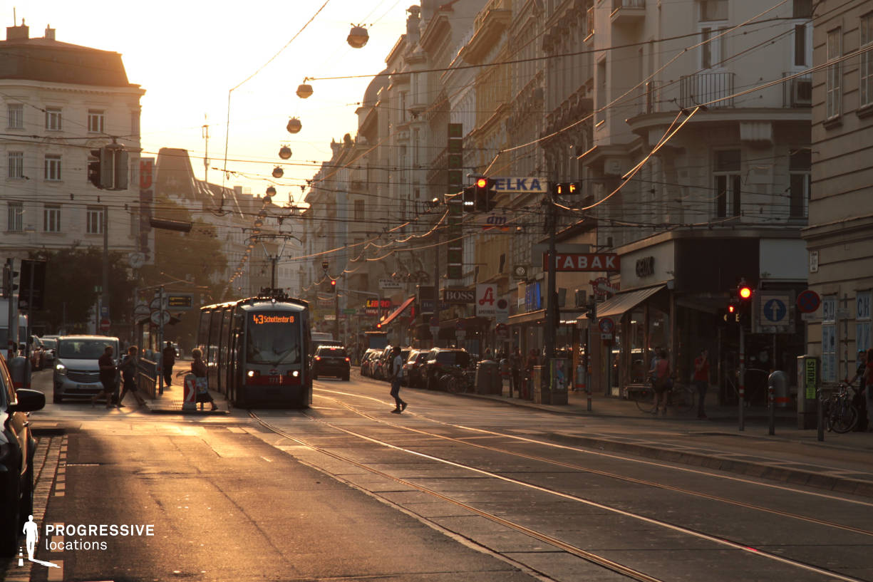 Locations in Austria: Wide Street %26 Tram %26 Shops