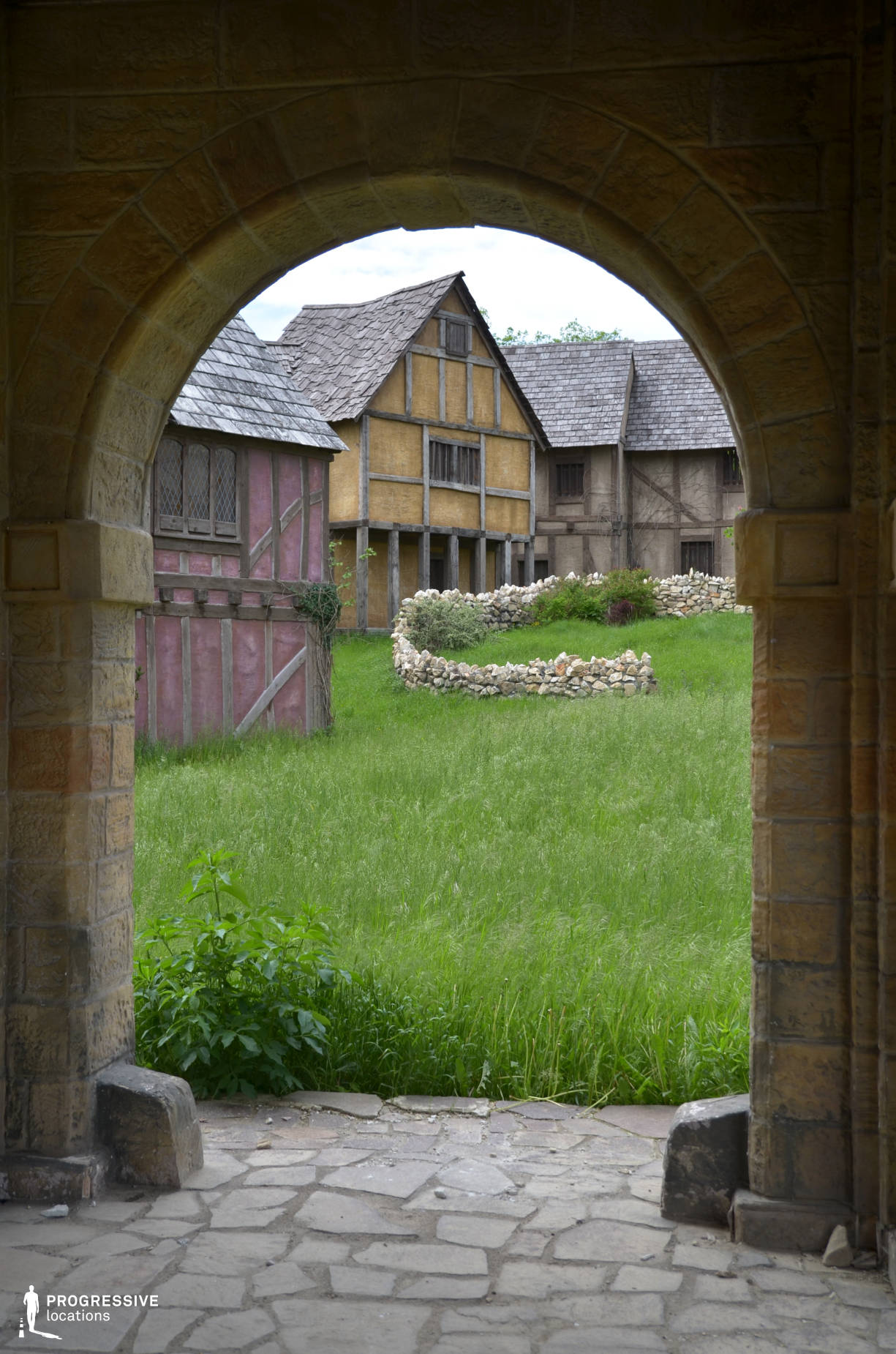 British Medieval Village Backlot: Arcade %26 Wooden Structure Houses
