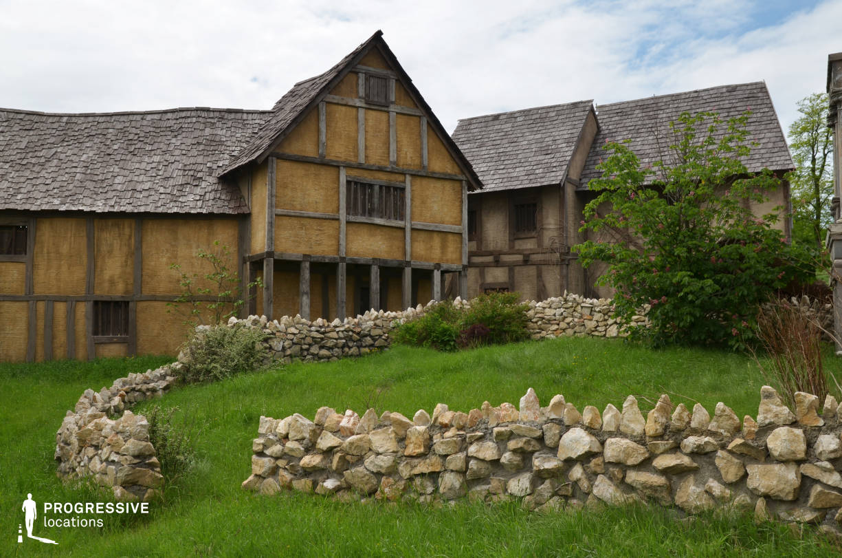 British Medieval Village Backlot: Wooden House %26 Stone Fence