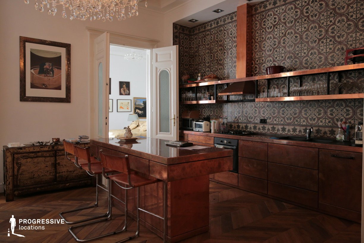 Locations in Budapest: Kitchen with Copper Furniture