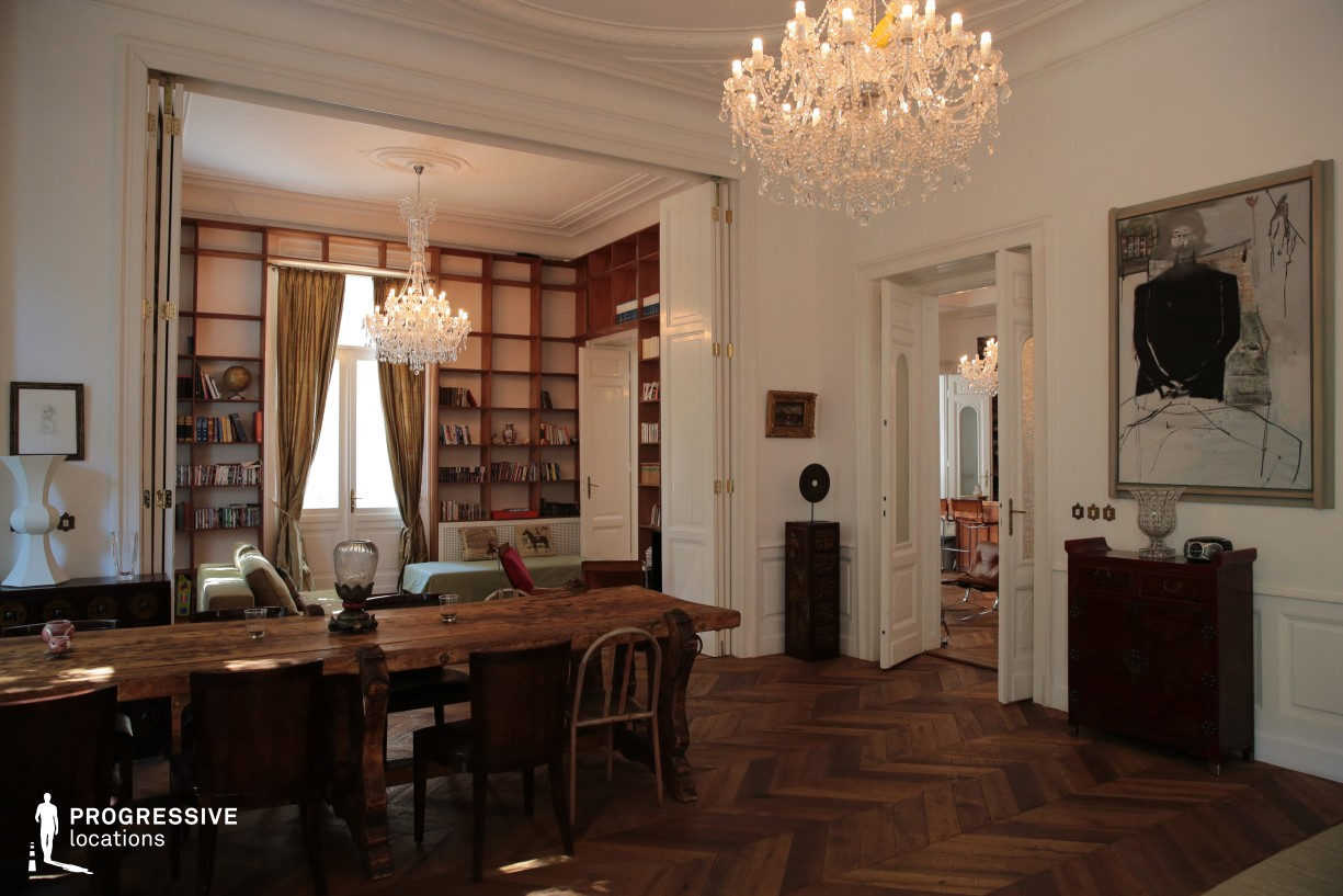 Locations in Budapest: Living Room with Wooden Table