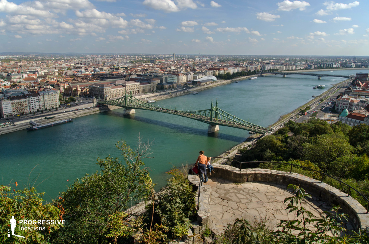 Locations in Budapest: Liberty Bridge Panorama with Hilltop Terrace