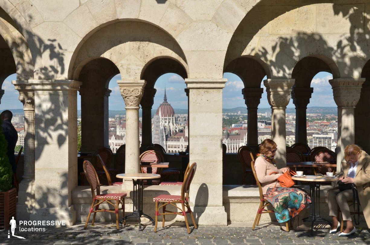 Locations in Hungary: Cafe Terrace, Fishermans Bastion %26 Parliament
