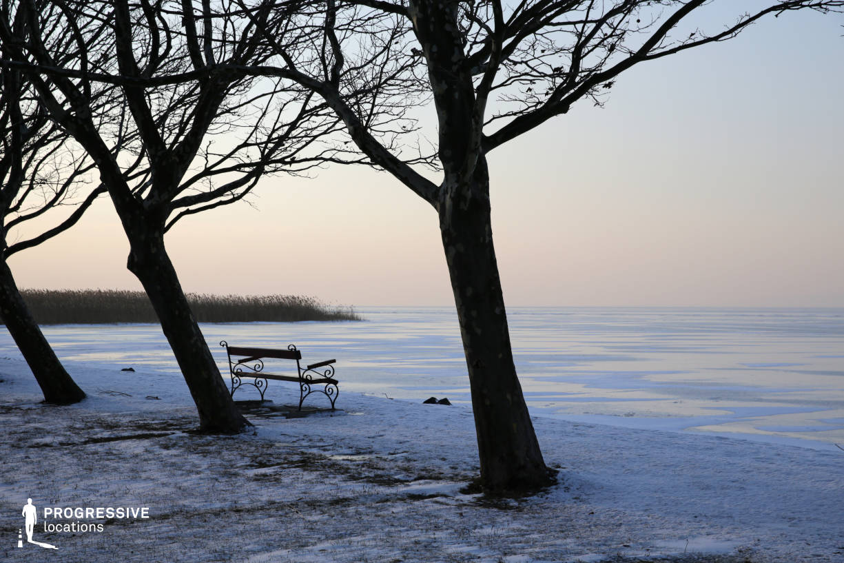 Locations in Hungary: Frozen Lake Shore with Bench