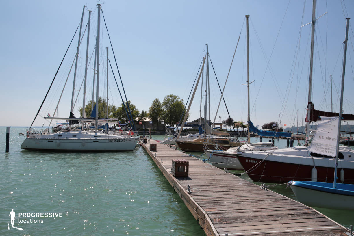 Locations in Hungary: Pier with Sailing Boats, Tihany