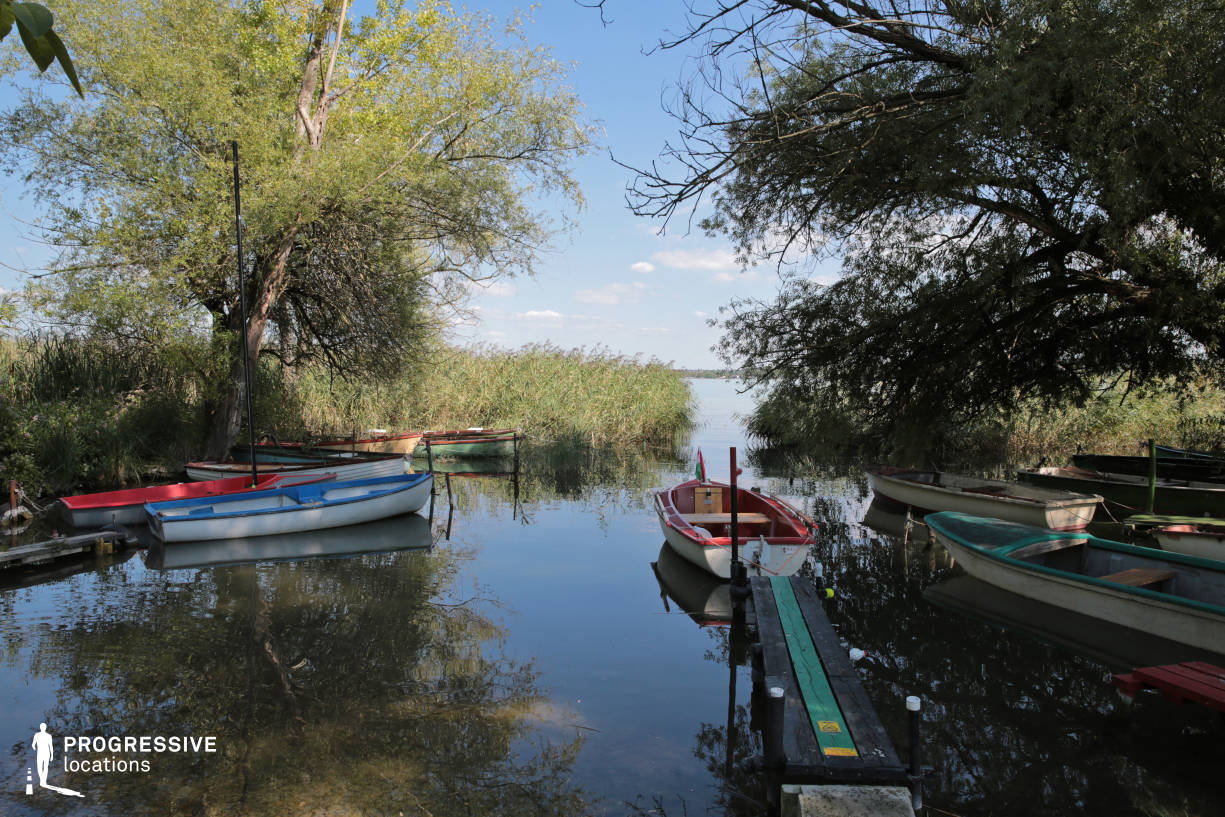 Locations in Hungary: Small Bay with Boats, Balaton