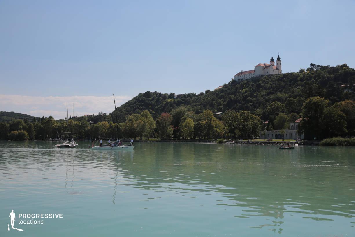 Locations in Hungary: Lake Shore with Church, Tihany