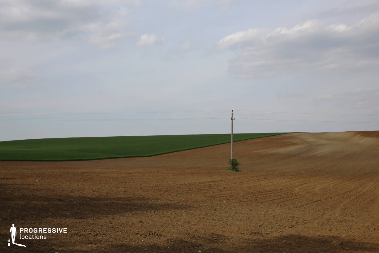 Locations in Hungary: Field with Electric Pole, Labatlan