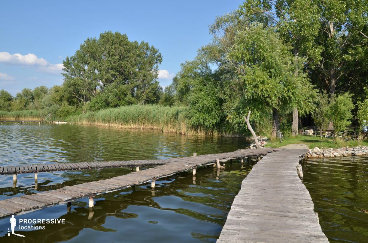 Locations in Hungary: Plank Bridge, Lakeshore, Lake Bokod