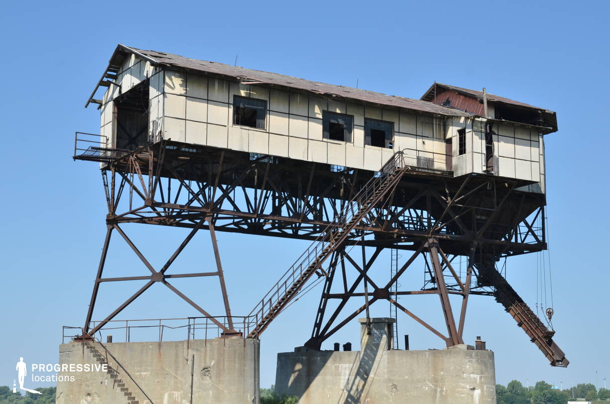 Locations in Hungary: Coal Loading Station, River Danube (Industrial Metal Construction)